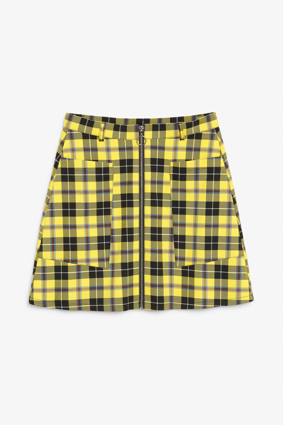 Front image of Monki mini skirt in yellow