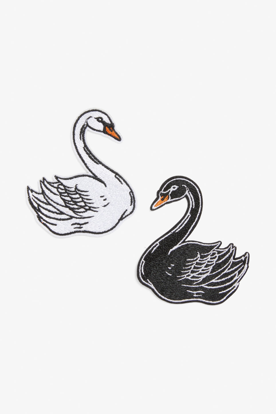 Front image of Monki embroidered swan patches  in white