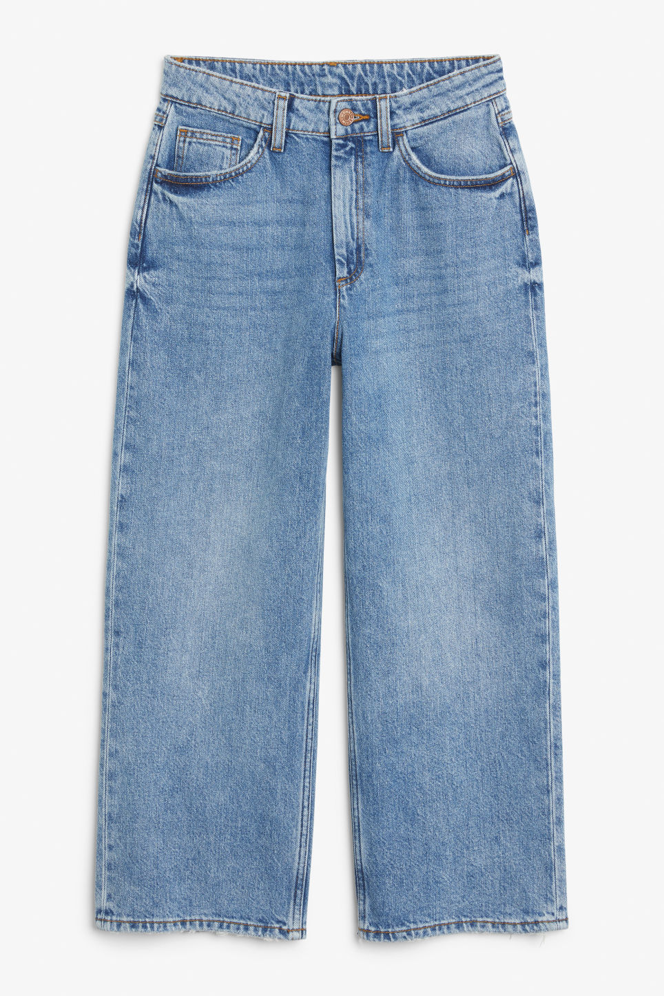 Front image of Monki mozik mid blue jeans in blue