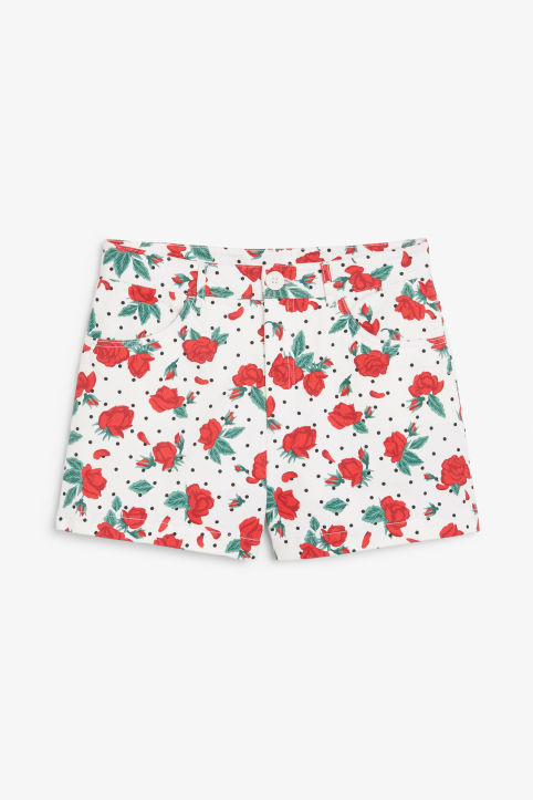 Front image of Monki high waisted cotton shorts in white