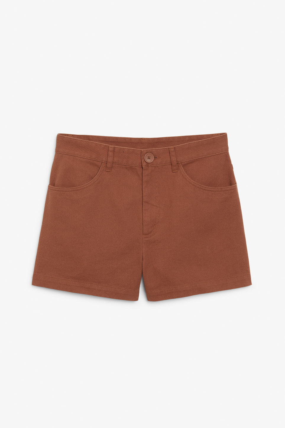 Front image of Monki high waisted cotton shorts in orange
