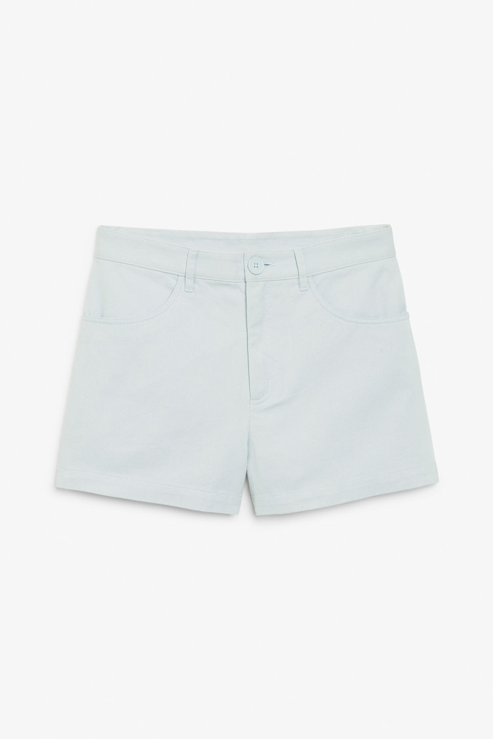 Front image of Monki high waisted cotton shorts in turquoise