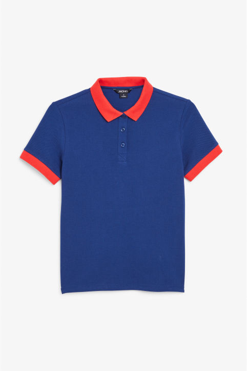 Front image of Monki piqué polo shirt in blue