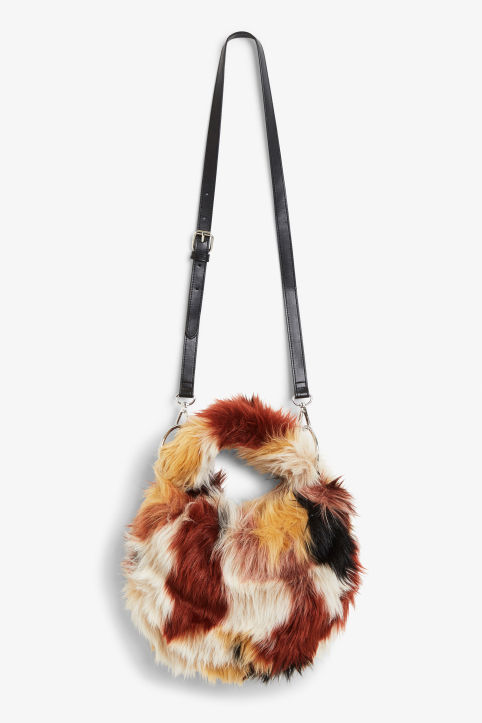 Front image of Monki fluffy cross shoulder bag in black