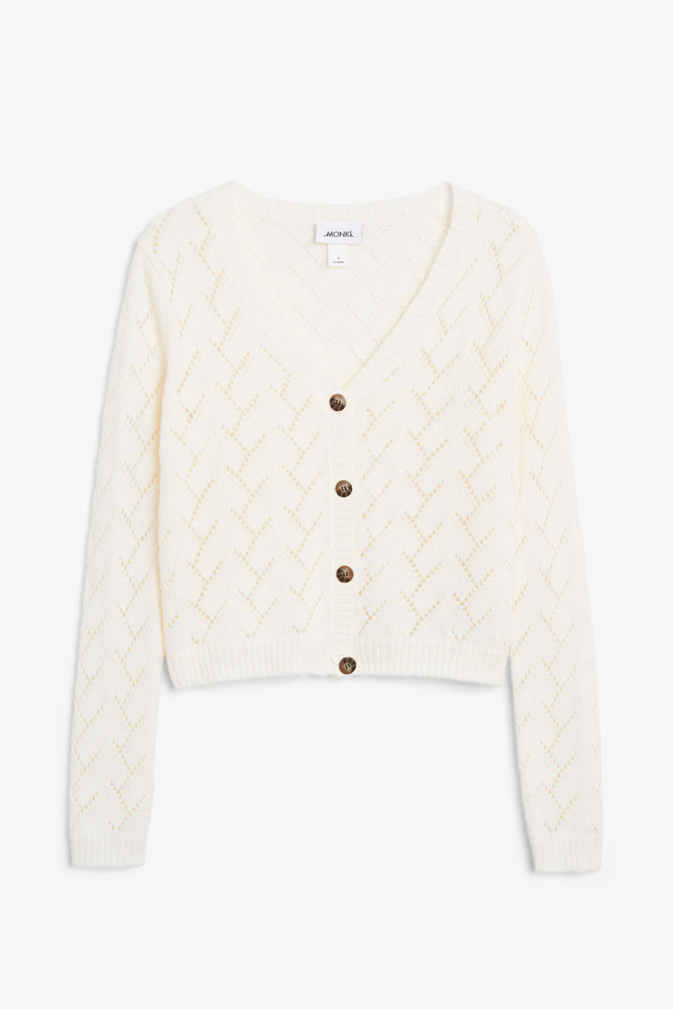 Front image of Monki knitted cardigan in white