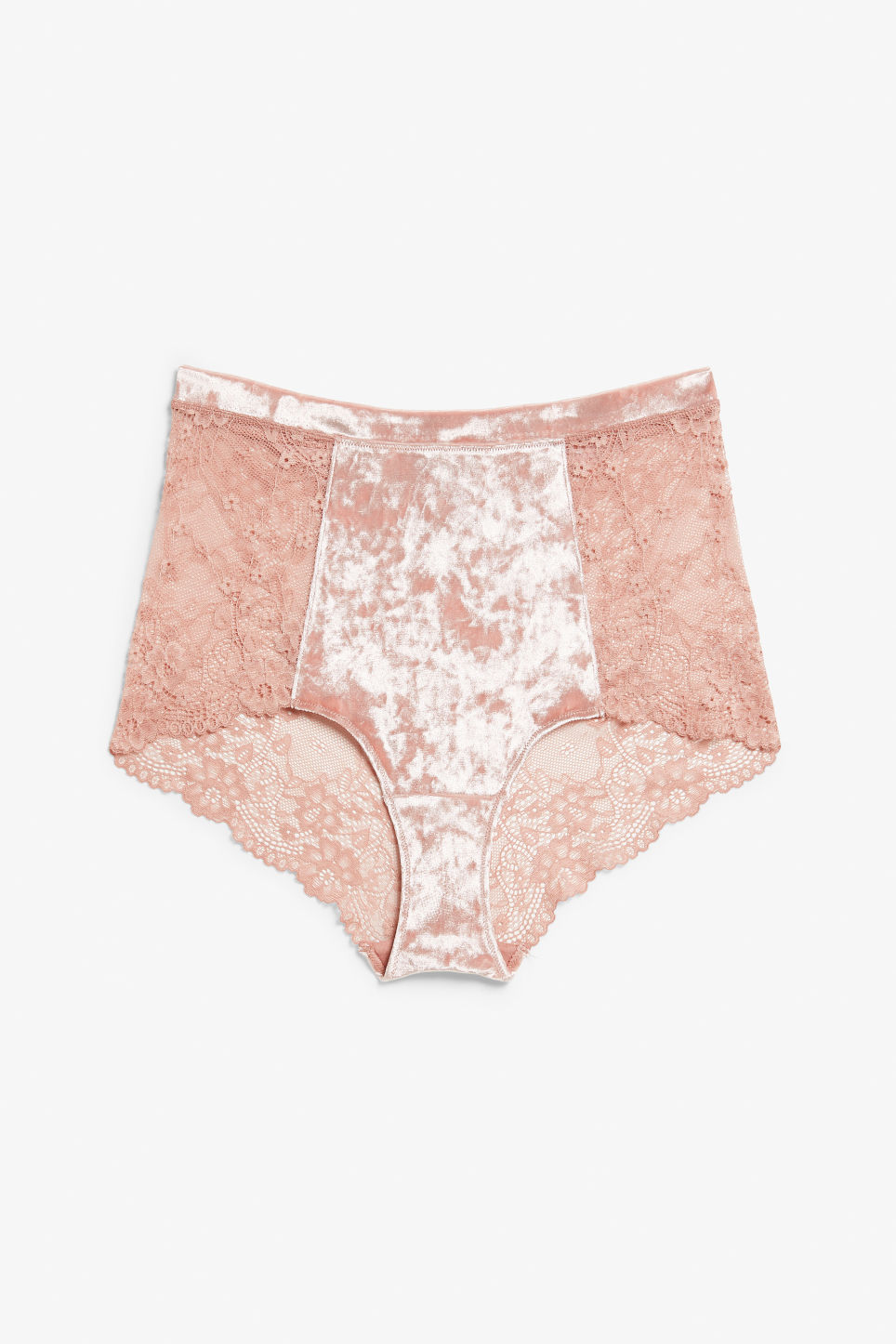 Front image of Monki velvet and lace high waist briefs in pink