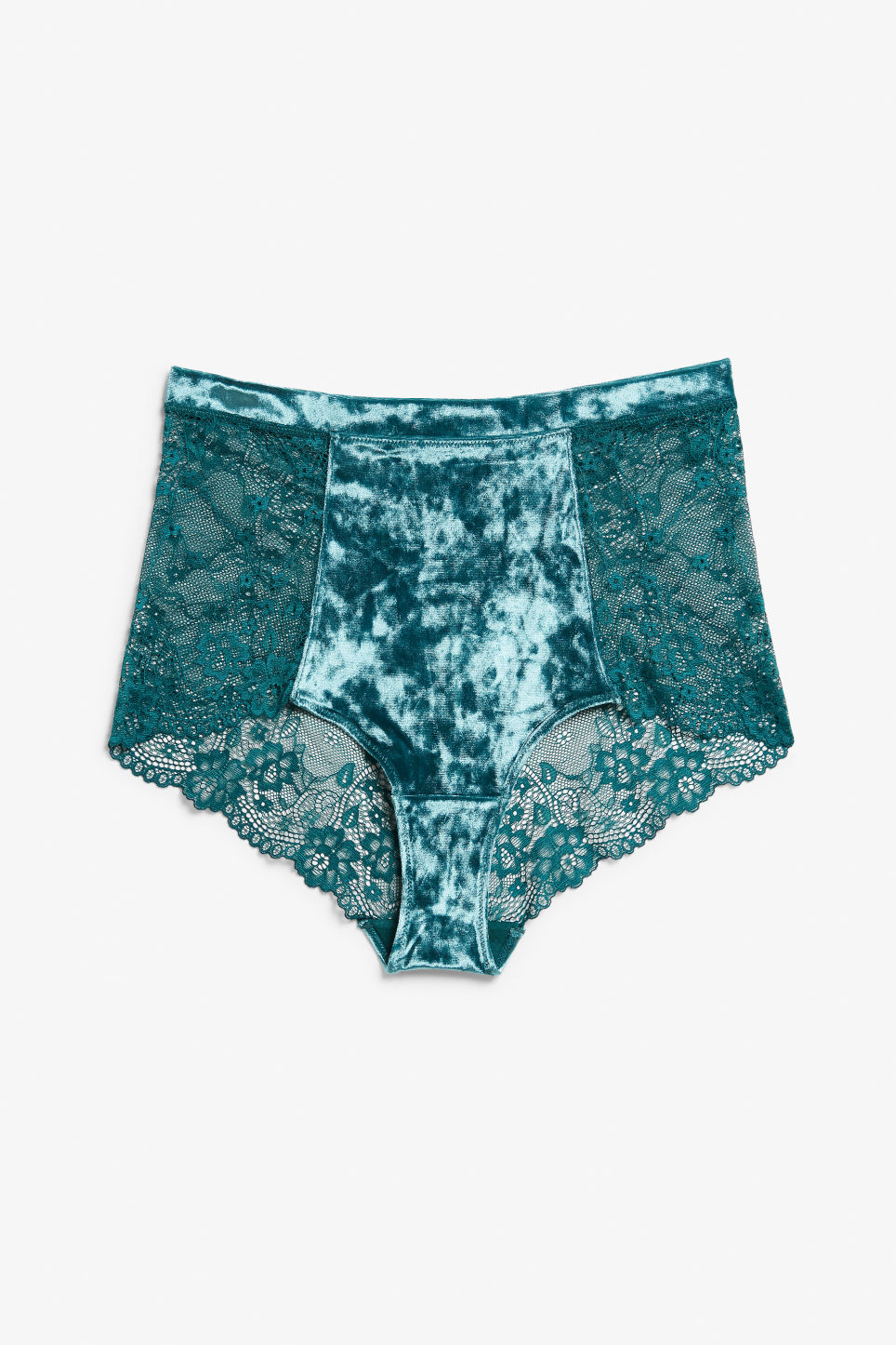 Front image of Monki velvet and lace high waist briefs in turquoise