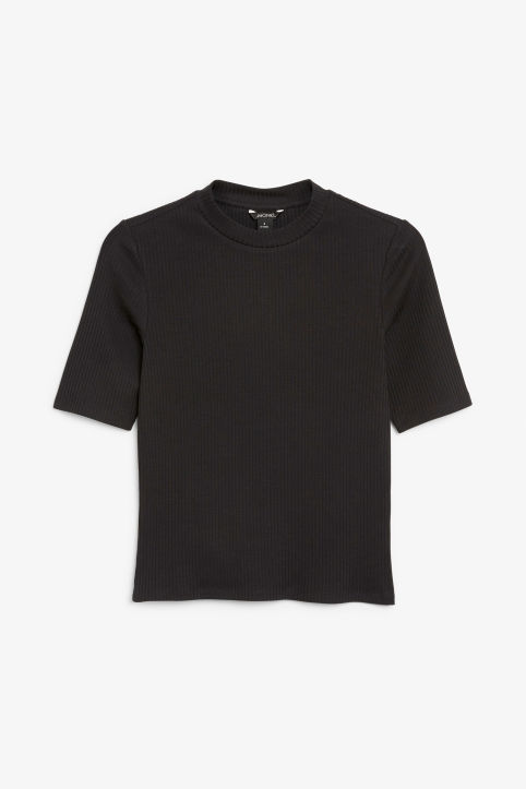 Front image of Monki ribbed top in black