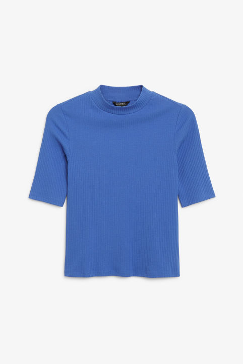 Front image of Monki low turtleneck top in blue