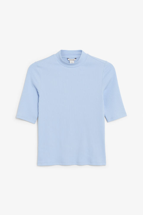 Front image of Monki ribbed top in blue