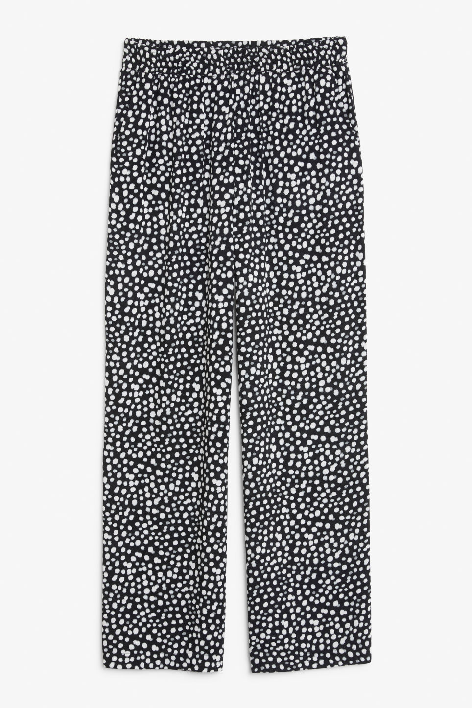 Front image of Monki relaxed pull-on trousers in black