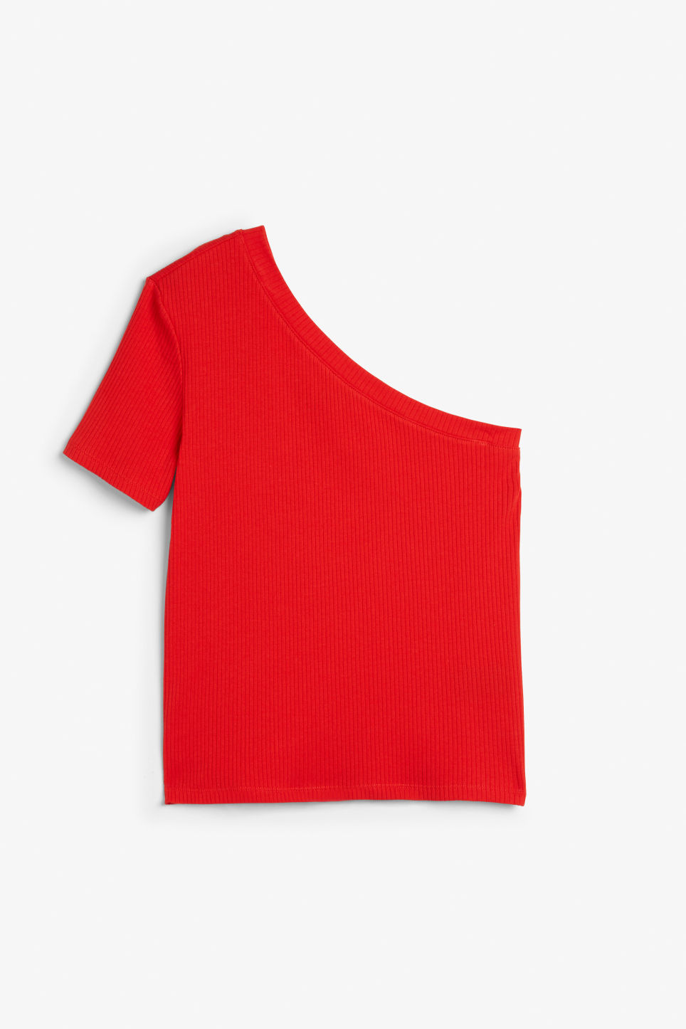 Front image of Monki one-shoulder t-shirt in red