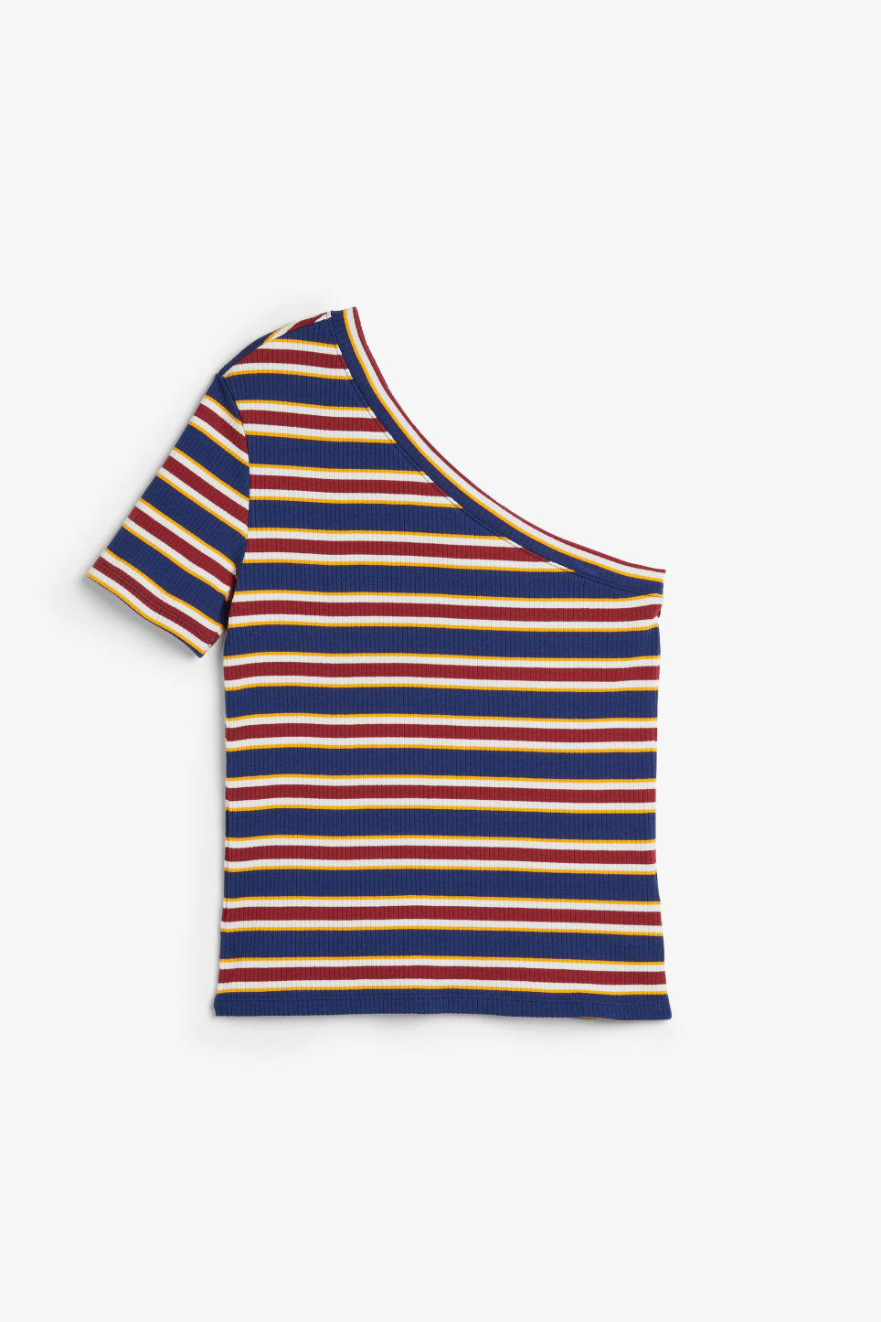 Front image of Monki one-shoulder t-shirt in blue