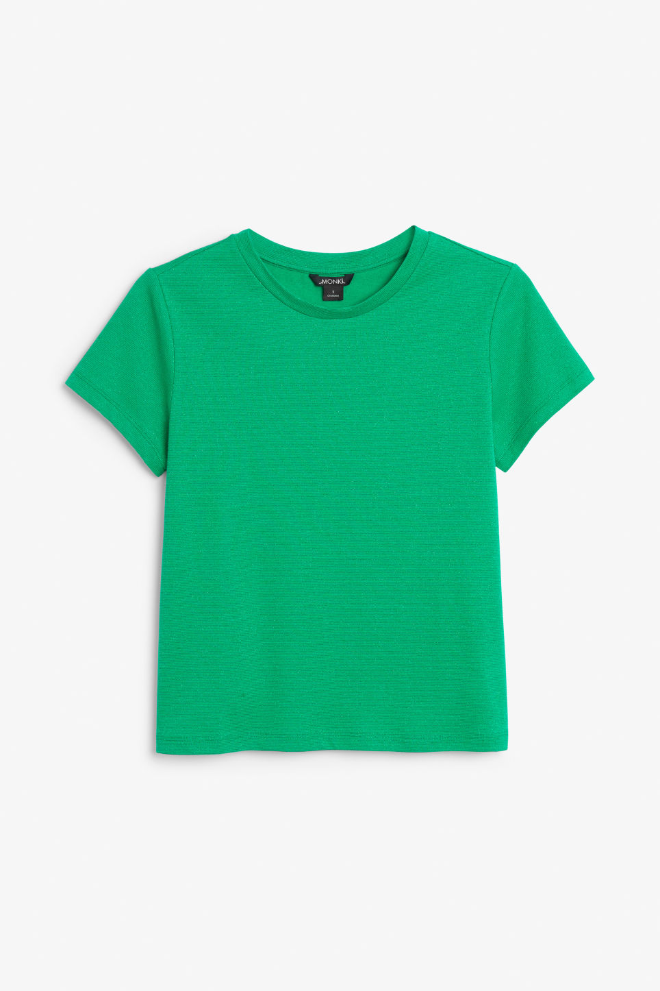 Front image of Monki glitter tee in green