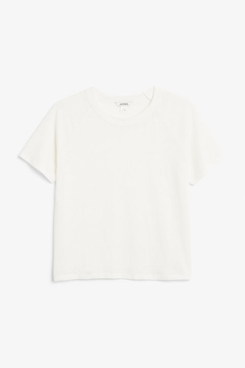 Front image of Monki statement tee in white
