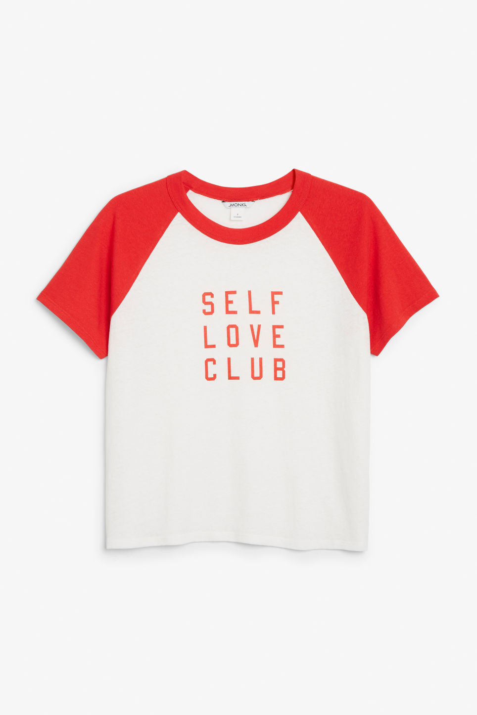 Front image of Monki statement tee in red