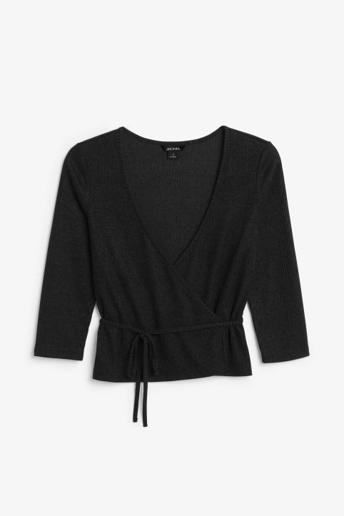 Front image of Monki ribbed wrap top in black