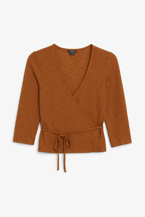 Front image of Monki ribbed wrap top in orange