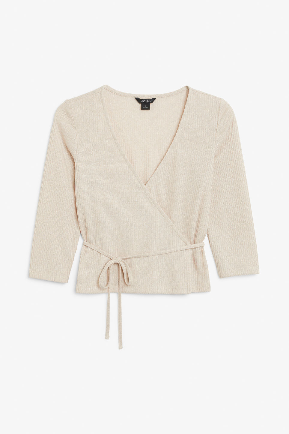 Front image of Monki ribbed wrap top in beige