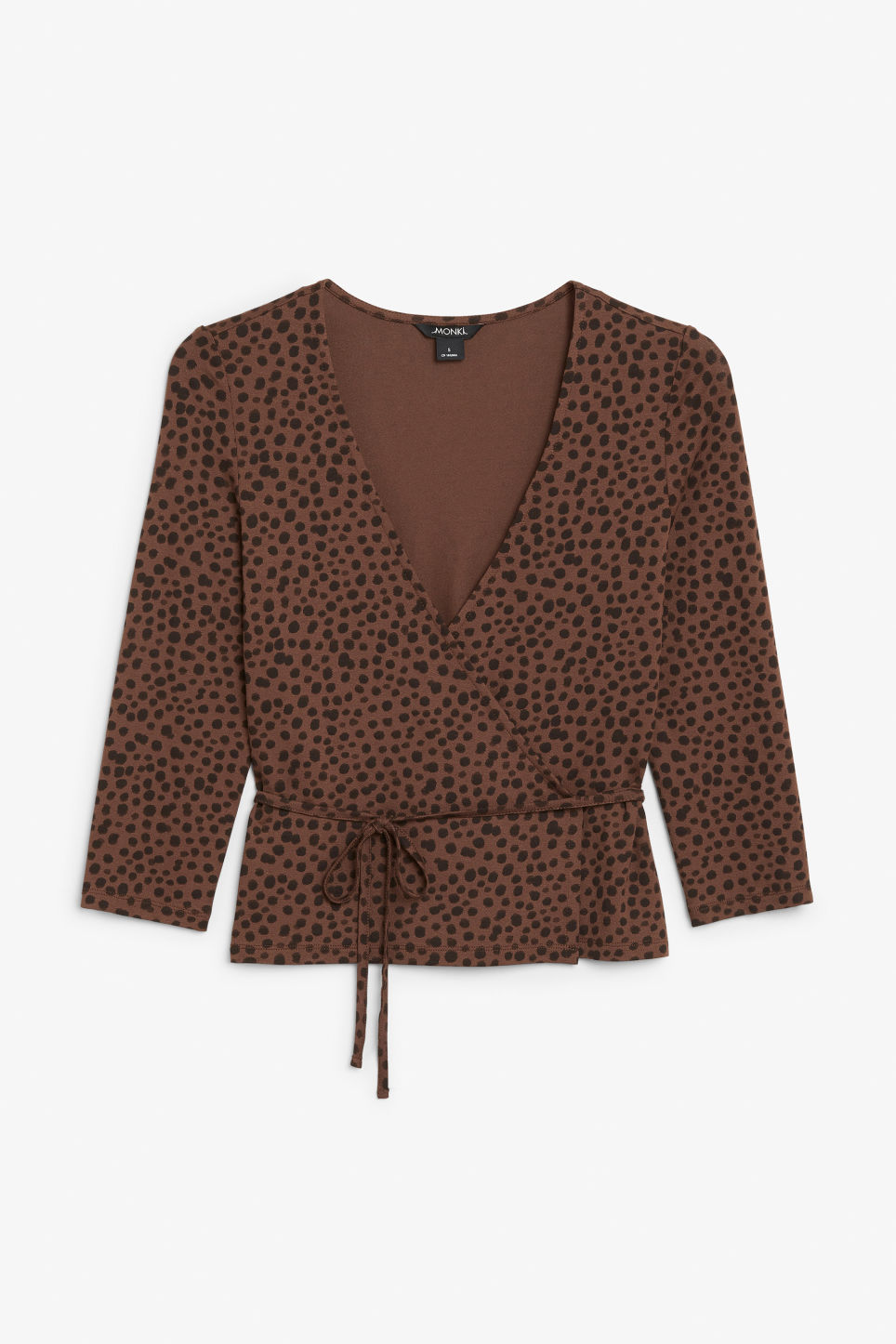 Front image of Monki wrap top in beige