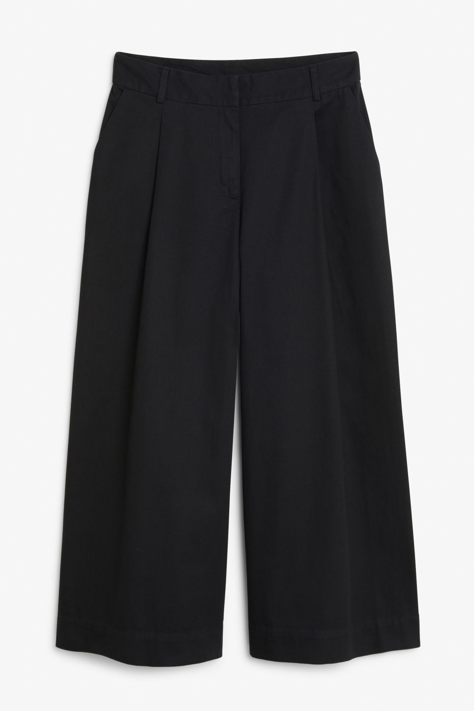 Front image of Monki wide leg cotton trousers in black