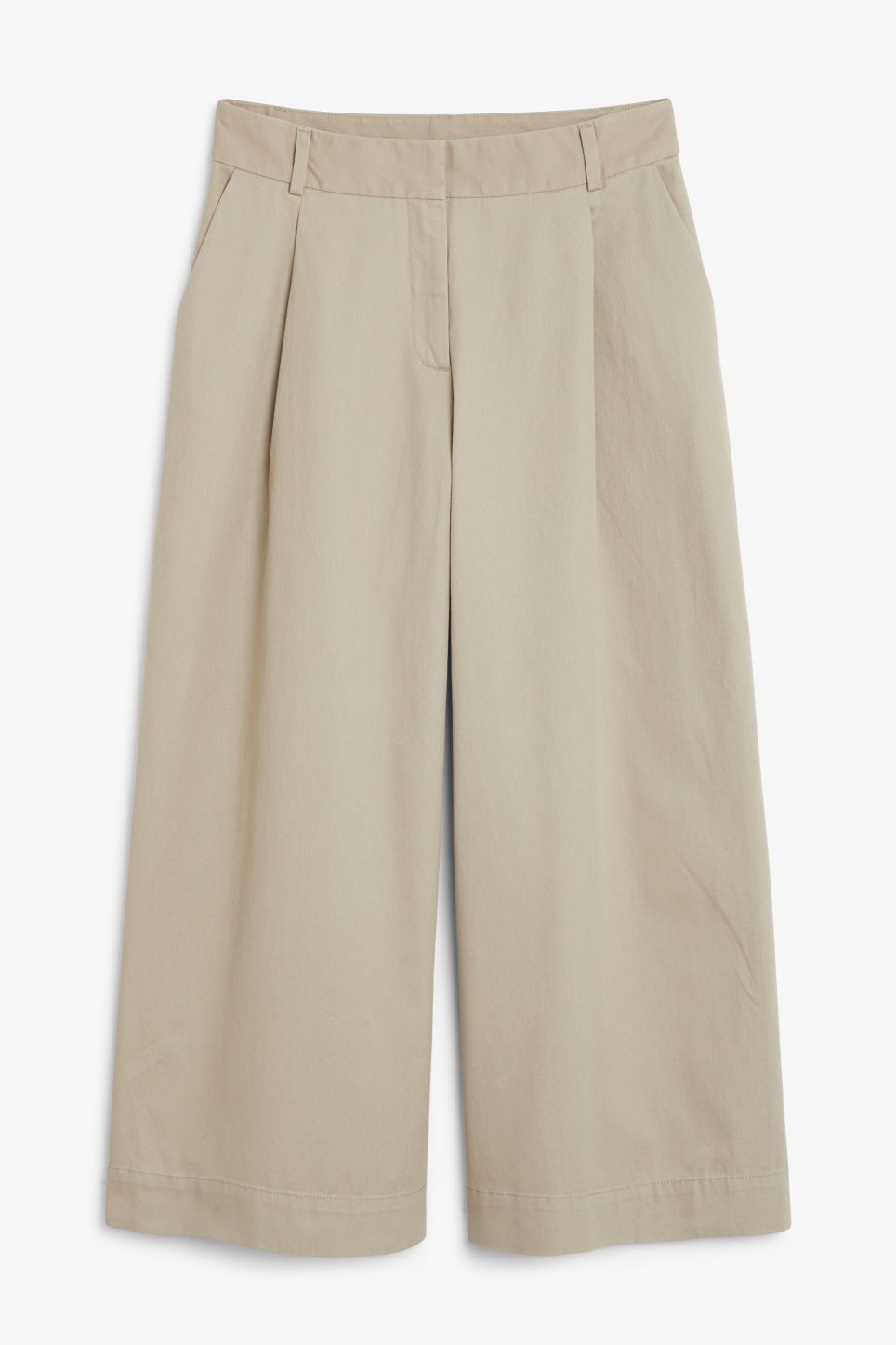 Front image of Monki wide leg cotton trousers in beige