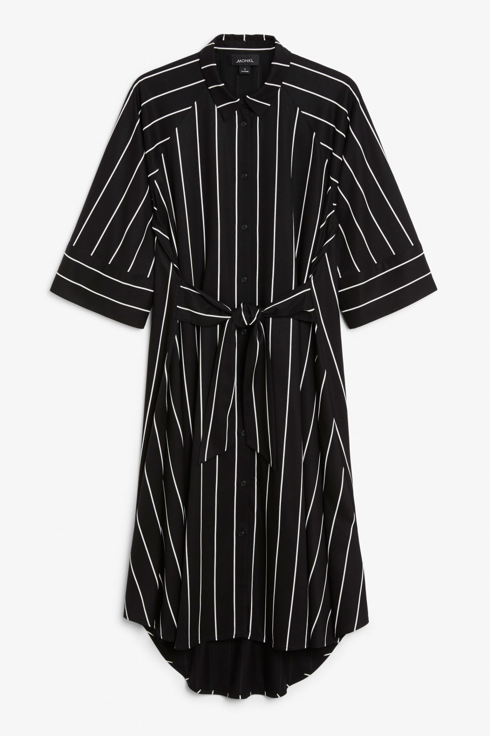 Front image of Monki belted shirt dress in black