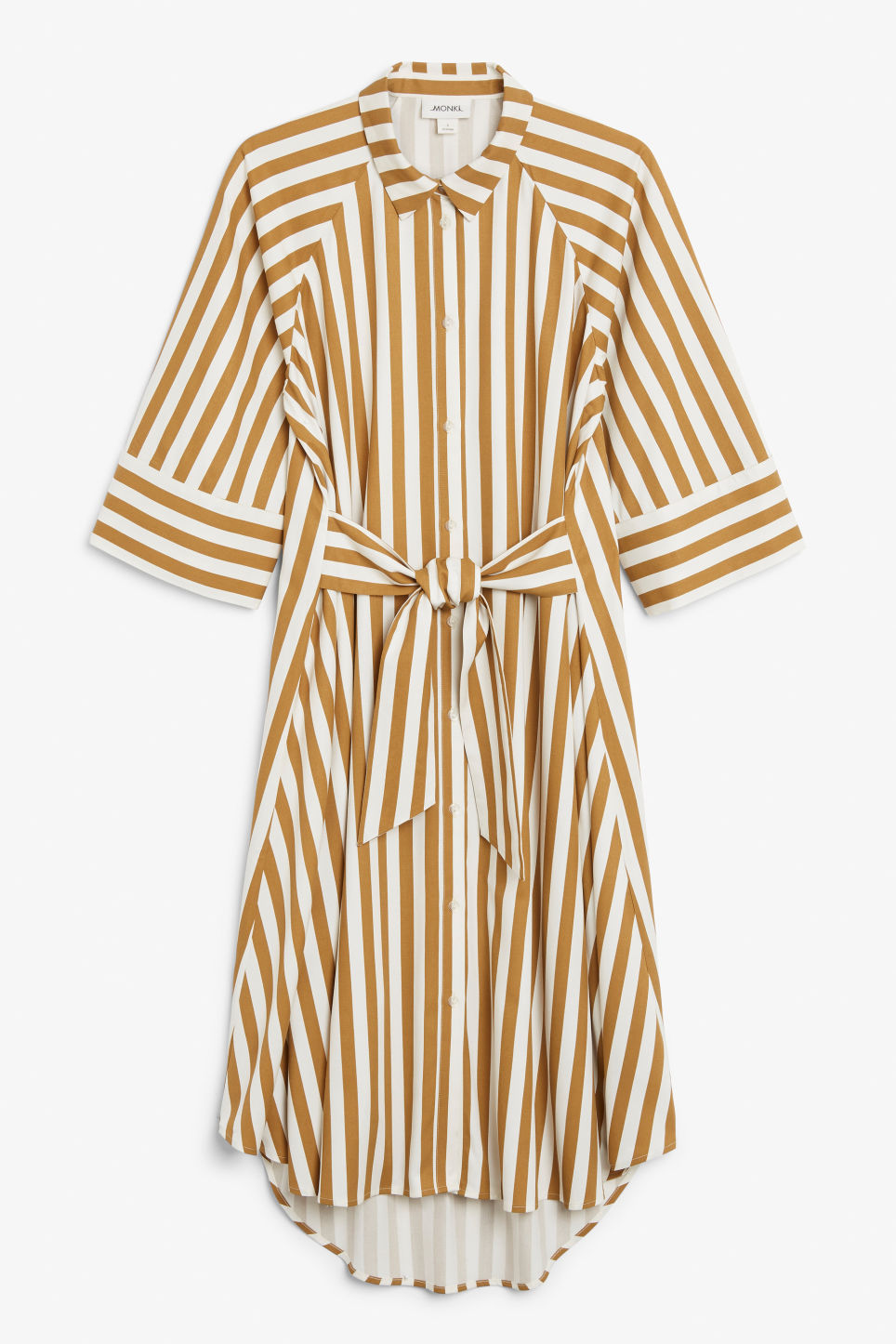 Front image of Monki belted shirt dress in yellow
