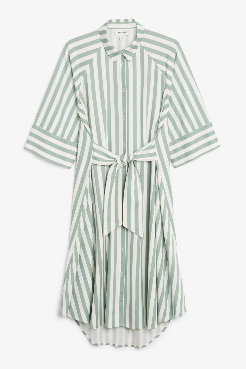 Front image of Monki belted shirt dress in green