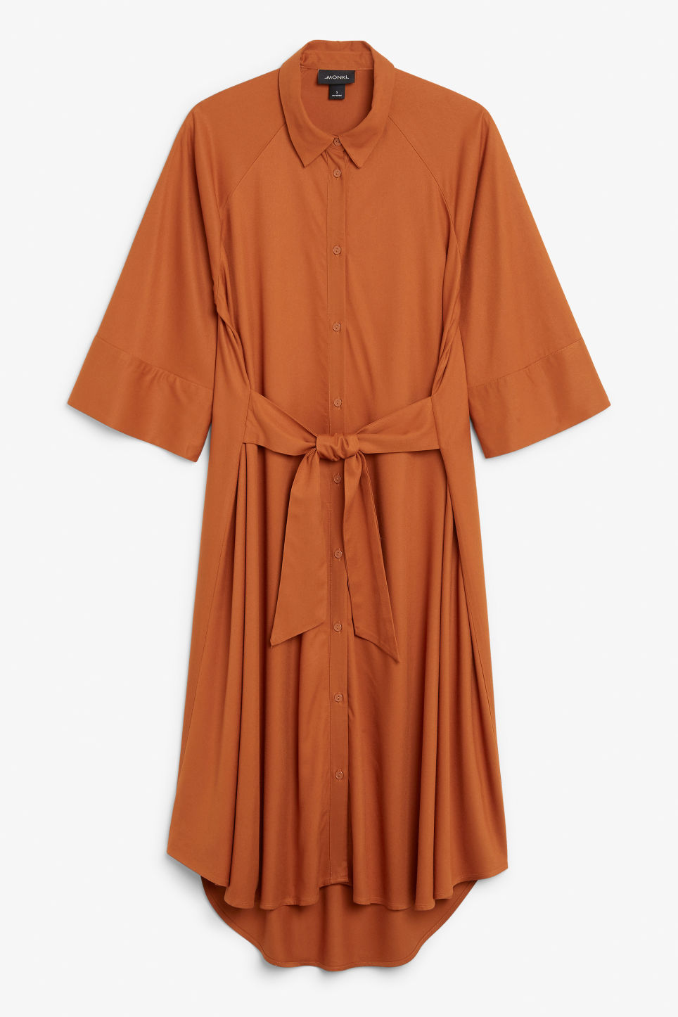 Front image of Monki belted shirt dress in orange