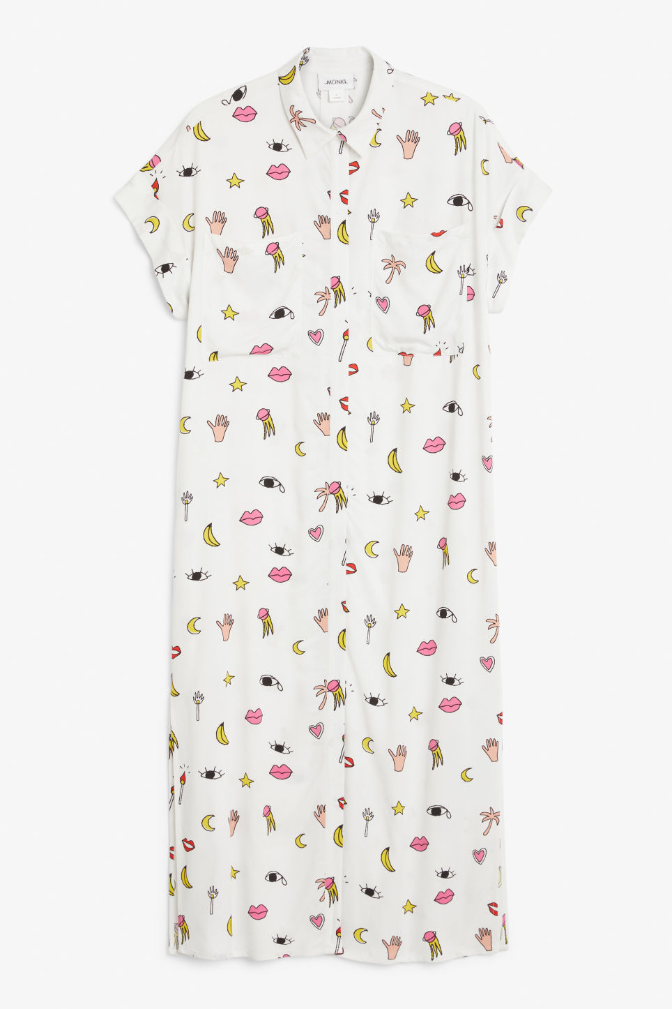 Front image of Monki midi shirt dress in white