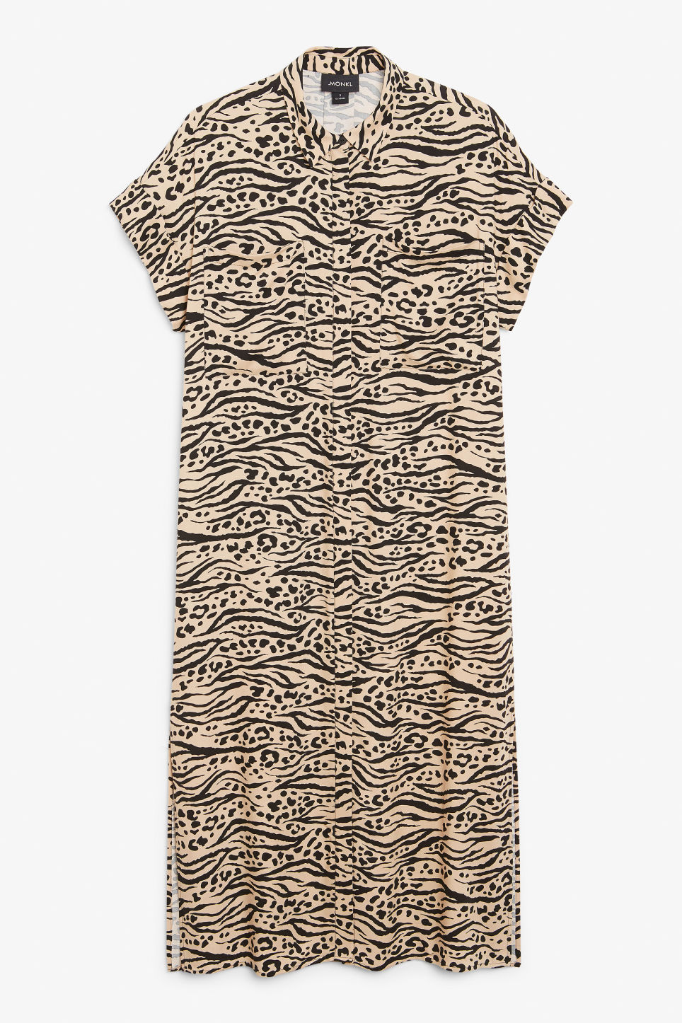 Front image of Monki long shirt dress in beige