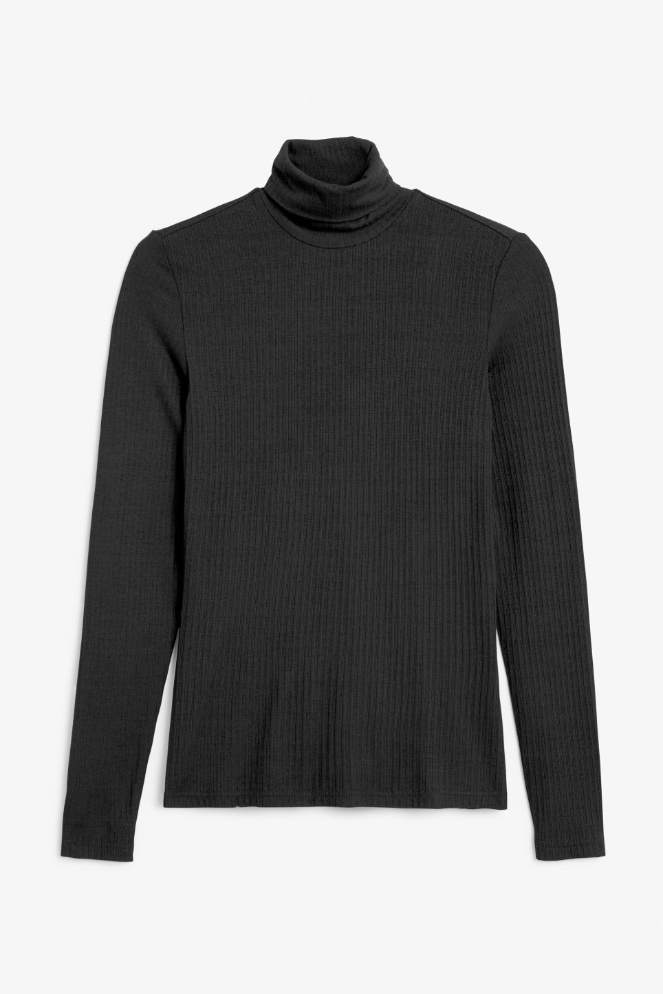 Front image of Monki stretchy polo top in black