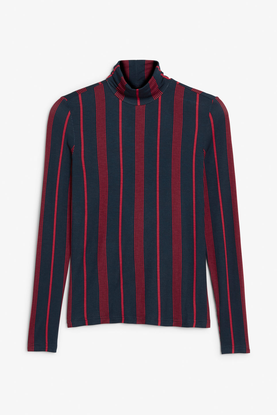 Front image of Monki ribbed polo top in blue