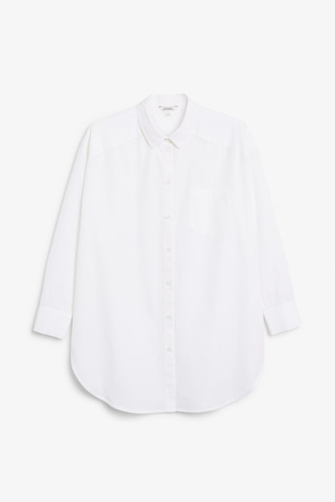 Front image of Monki oversized cotton shirt in white