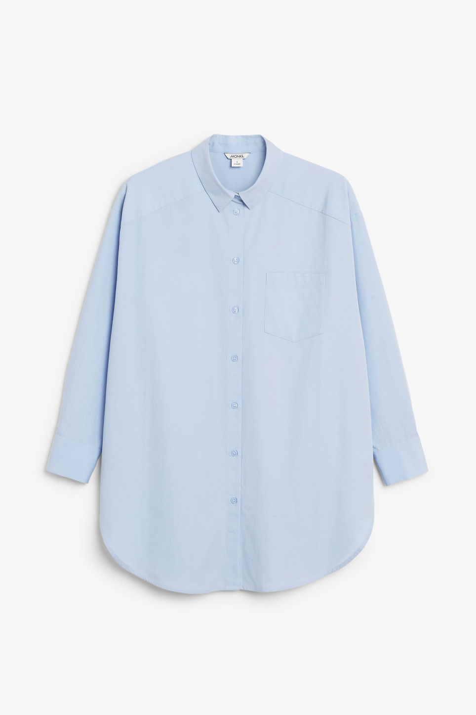 Front image of Monki oversized cotton shirt in blue