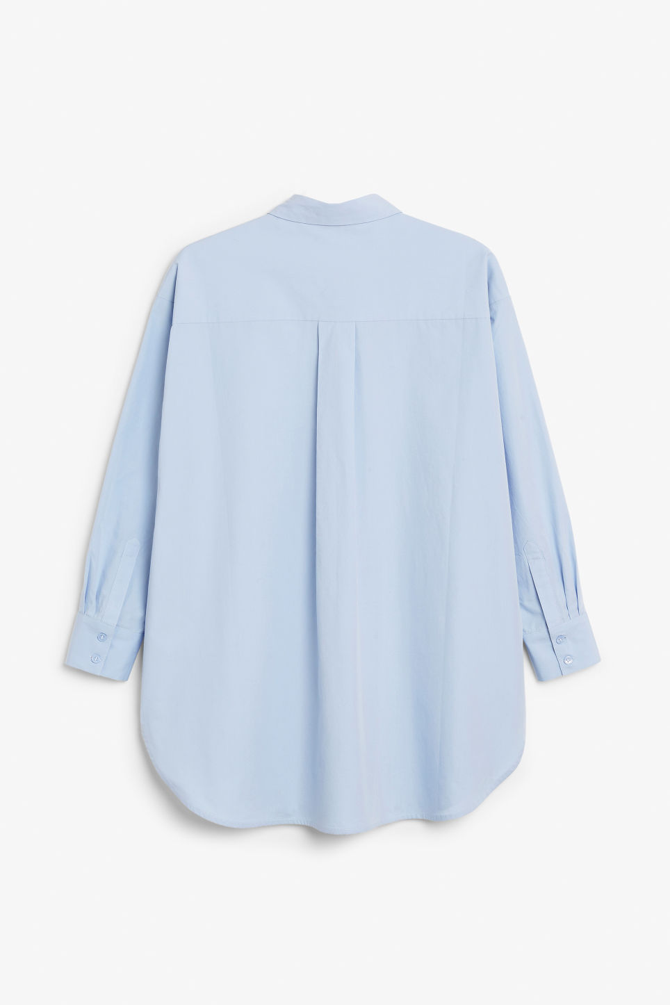 Back image of Monki oversized cotton shirt in blue