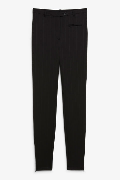 Pinstriped ankle zip trousers