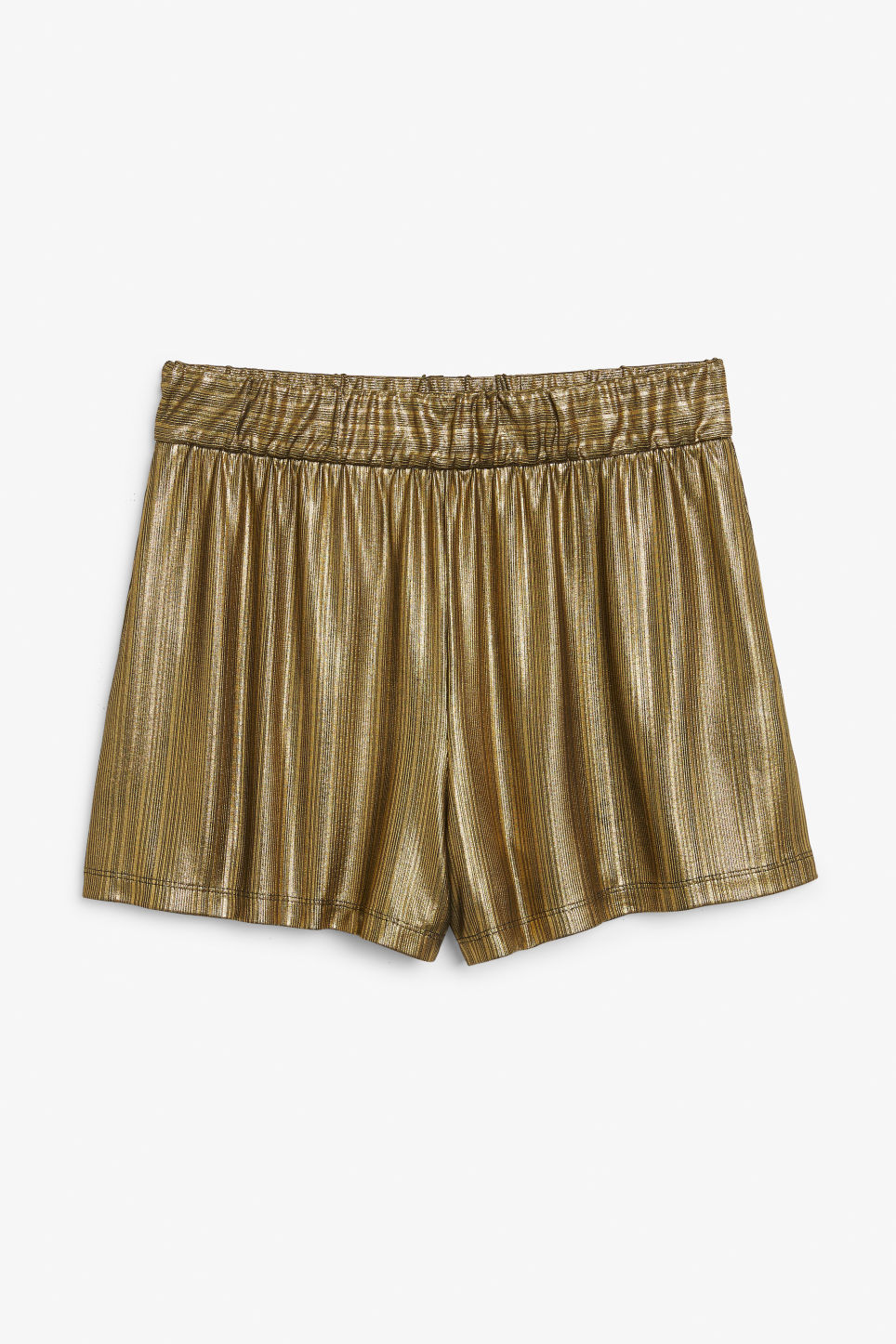Front image of Monki flowy shorts in gold