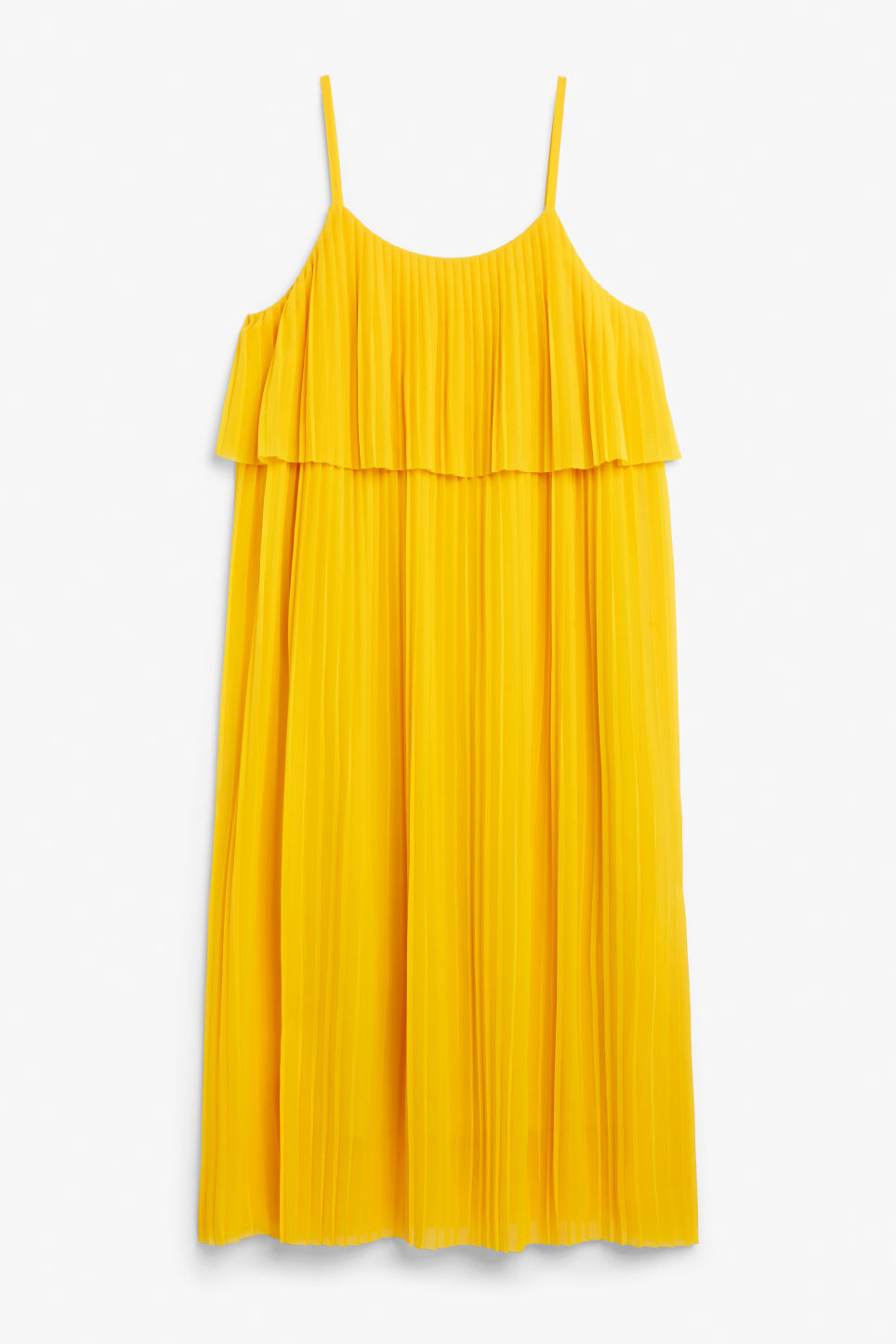 Front image of Monki plissé slip dress in yellow