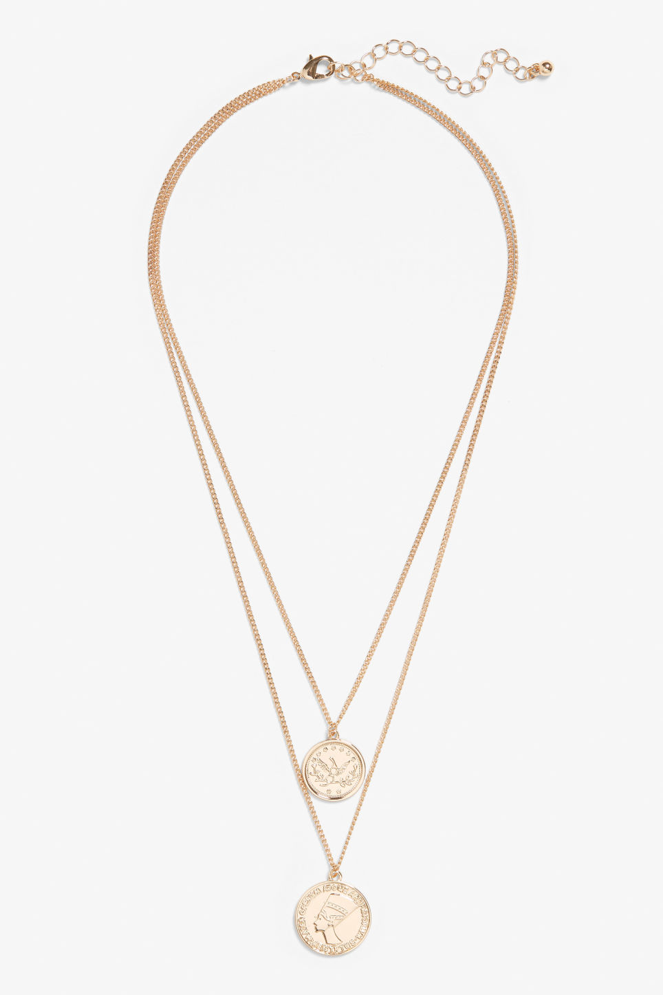 Front image of Monki charm necklace in gold