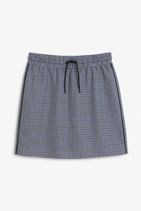 Front image of Monki houndstooth drawstring skirt in blue