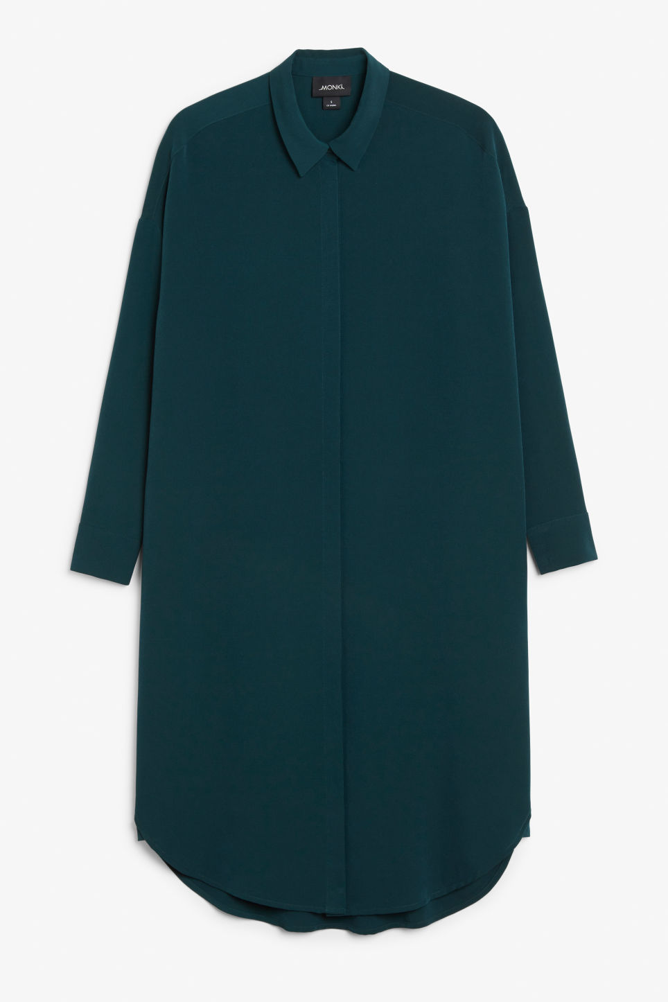 Front image of Monki long hidden button dress in green