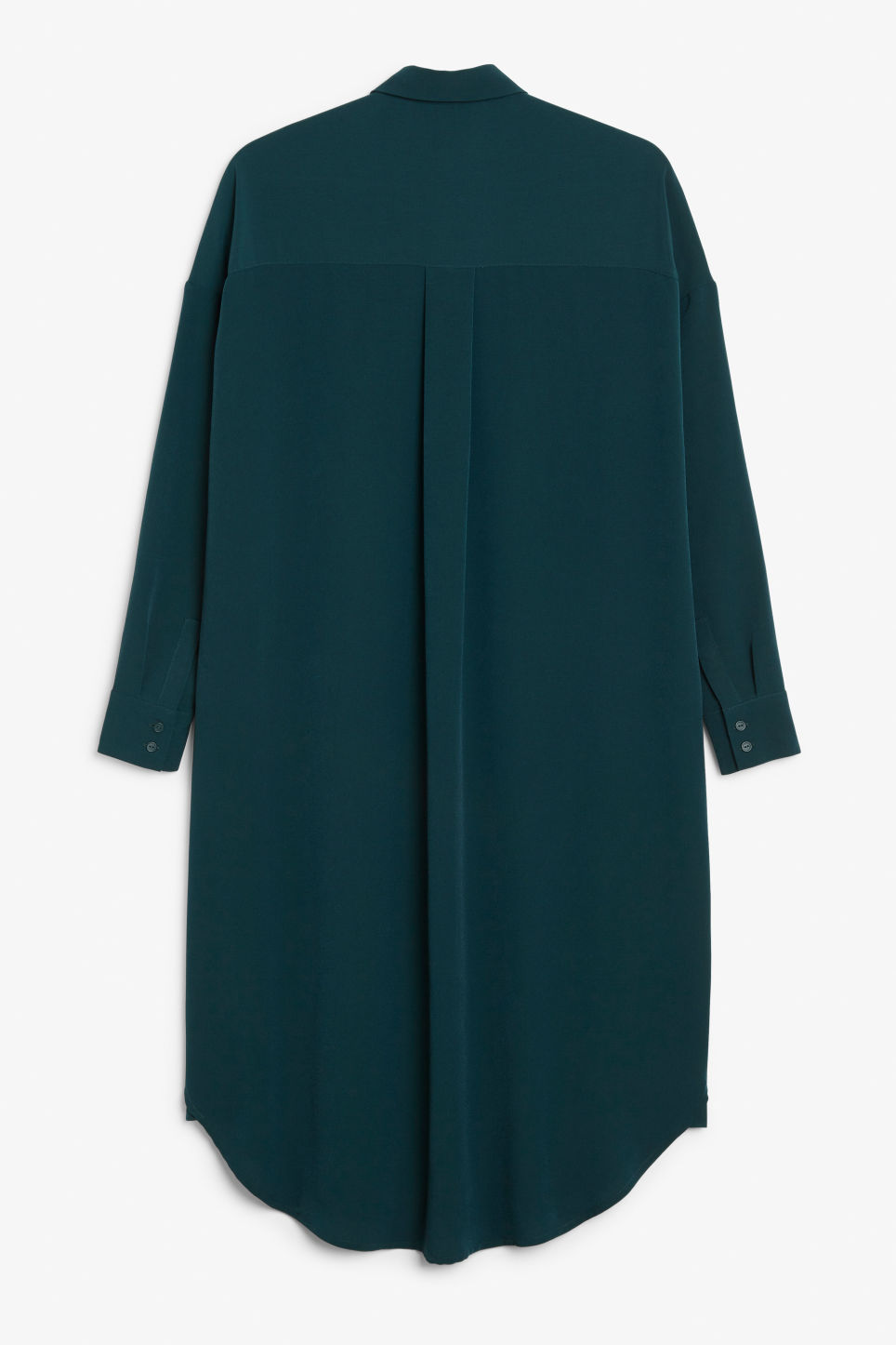 Back image of Monki long hidden button dress in green