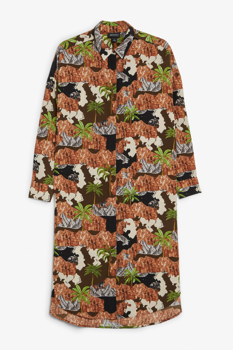 Front image of Monki long hidden button dress in brown