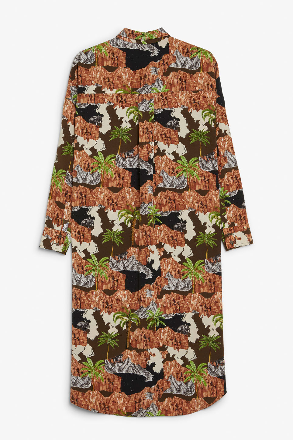 Back image of Monki long hidden button dress in brown