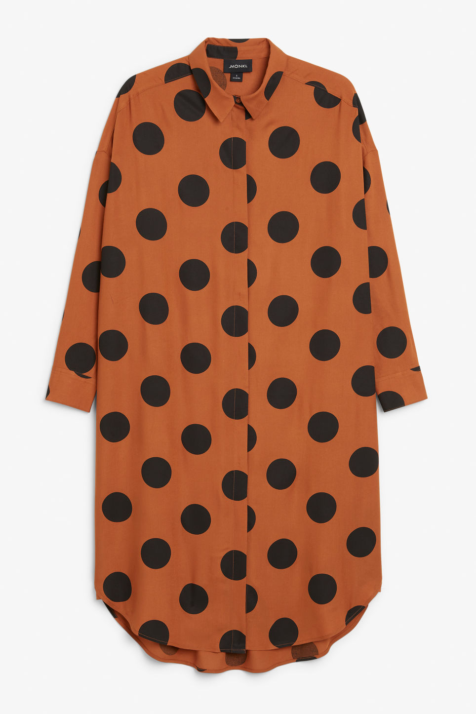 Front image of Monki long hidden button dress in black