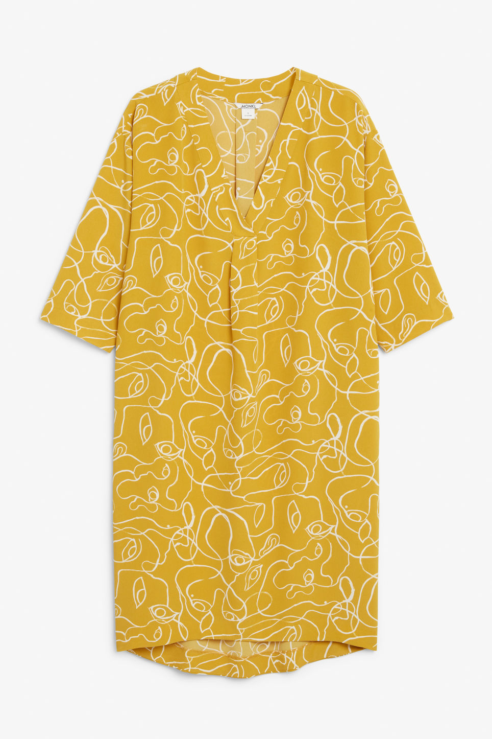 Front image of Monki oversized v-neck dress in yellow