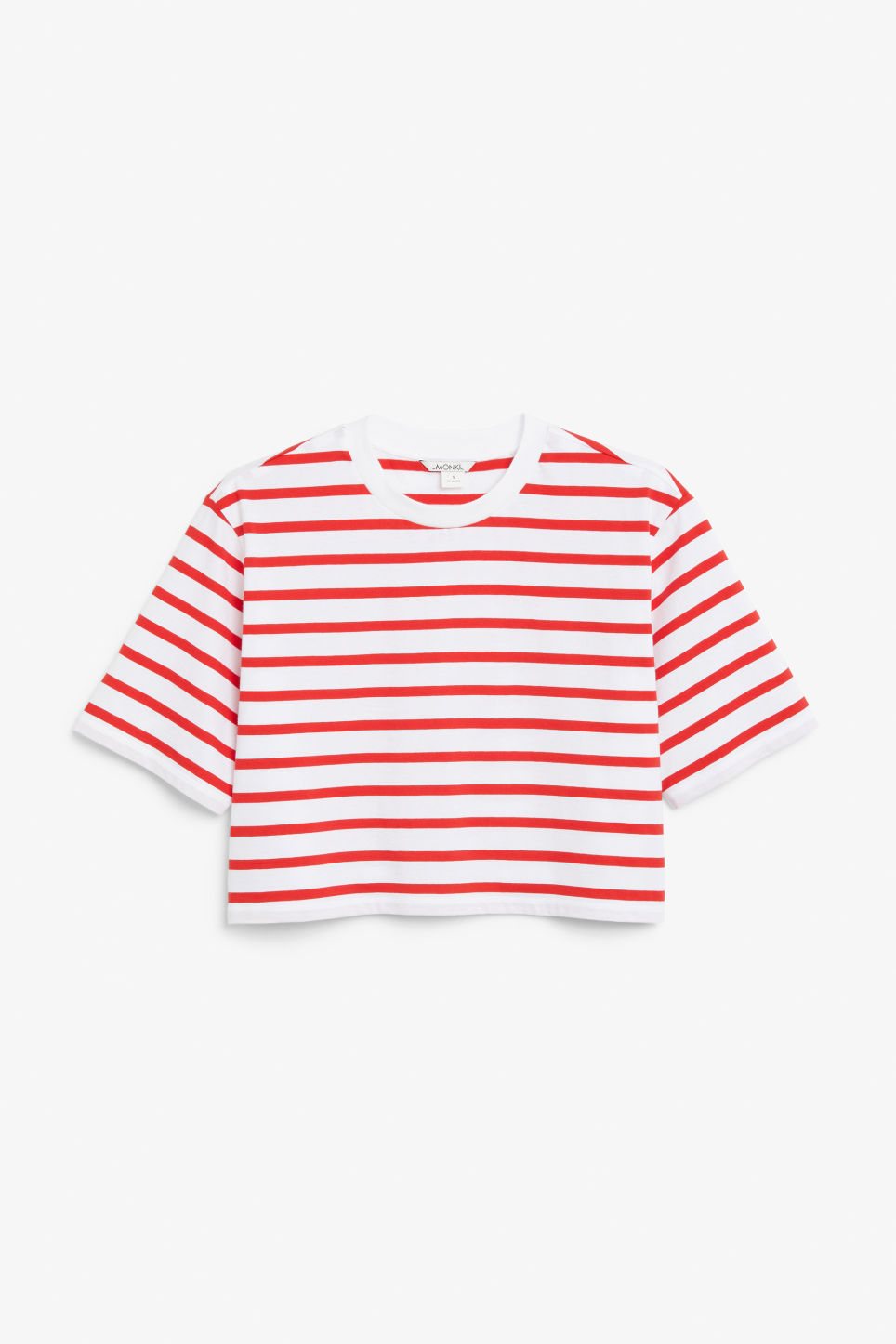 Front image of Monki cropped retro tee in red