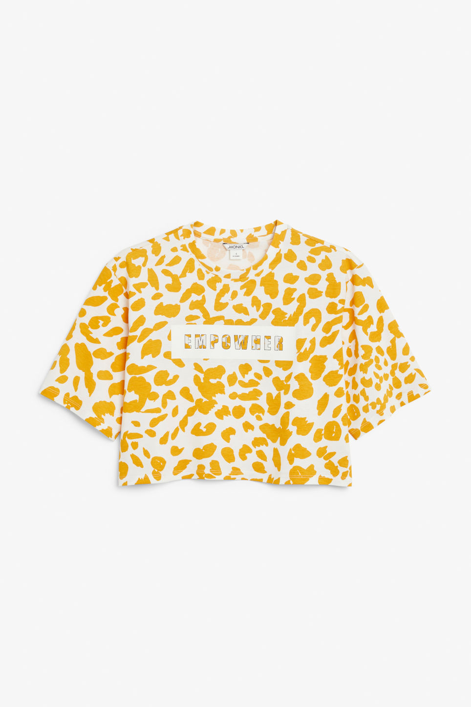 Front image of Monki cropped retro tee in yellow